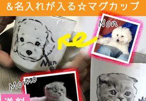【名入れ/似顔絵】MY猫の似顔絵&名入れが入る☆マグカップ プレゼント 誕生日にも